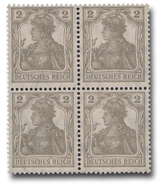 Briefmarke Deutsches Kaiserreich, Germania 1918, Michel Nr. 102 Viererblock