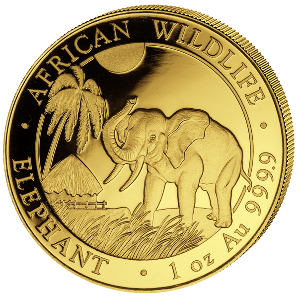 Goldmünze Somalia Elefant, 1 Unze Gold, 2017
