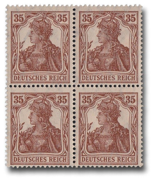 Briefmarke Deutsches Kaiserreich, Germania 1918, Michel Nr. 103 Viererblock