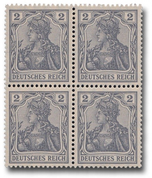 Briefmarken Deutsches Kaiserreich, Germania, 1905, Michel Nr. 83 I, Viererblock