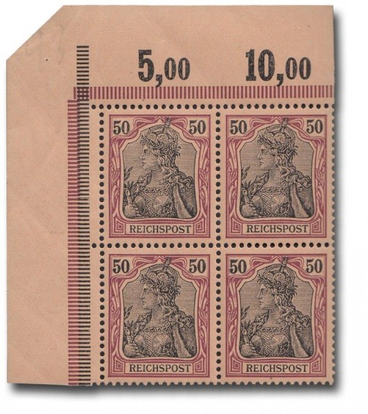 Briefmarke Deutsches Kaiserreich, Germania (I), 1900, Viererblock Michel Nr. 61 **