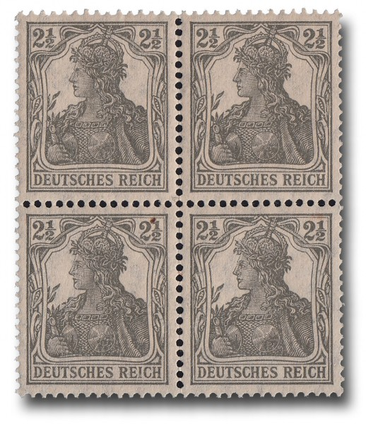 Briefmarke Deutsches Kaiserreich, Germania 1916/17, Michel Nr. 98, Viererblock
