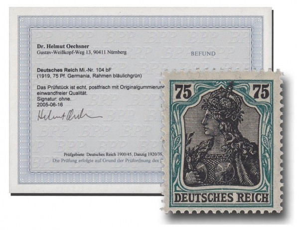 Briefmarke Deutsches Kaiserreich, Germania 1918, Michel Nr. 104 d (vorm. 104 bF), Fotoattest