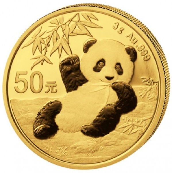Goldmünze China, Panda, 3 Gramm, 2020 Stempelglanz