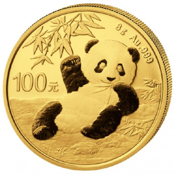 Goldmünze China, Panda, 8 Gramm, 2020 Stempelglanz