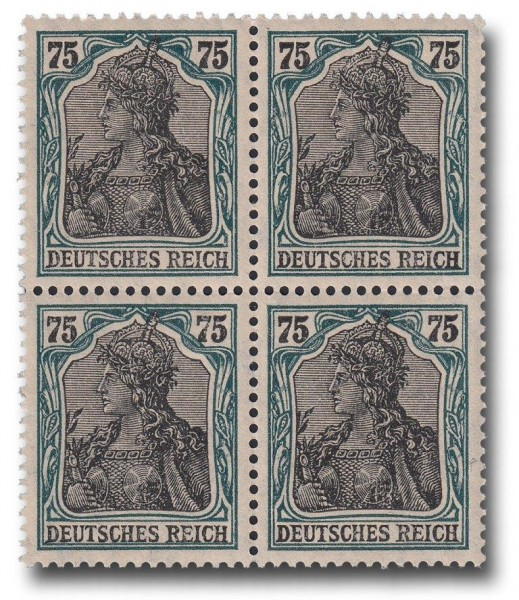 Briefmarke Deutsches Kaiserreich, Germania 1918, Michel Nr. 104 Viererblock